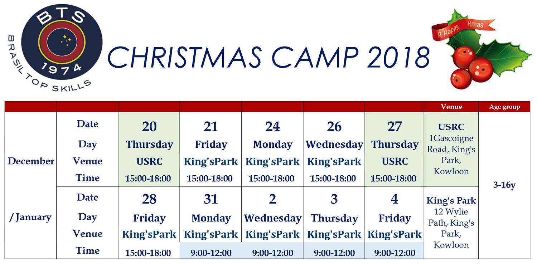 Xmas Camp 2018 schedule