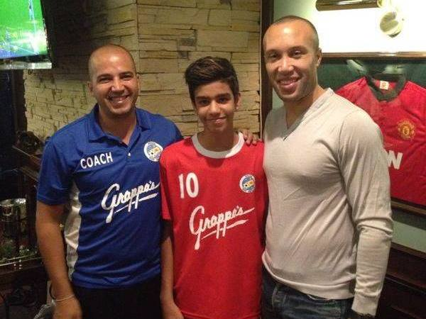 Daryesh, Eder and Mikael Silvestre, ex France international, in 2014